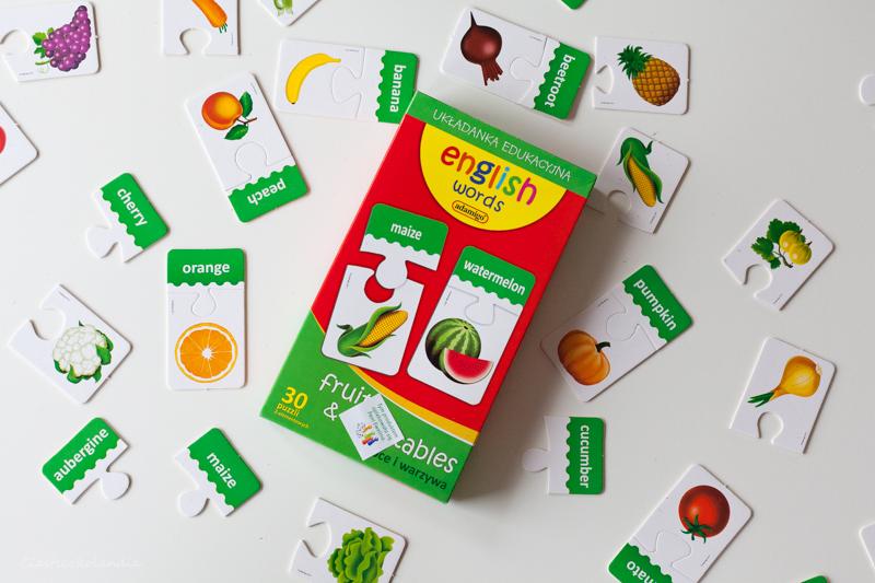 gra, język angielski, owoce, warzywa