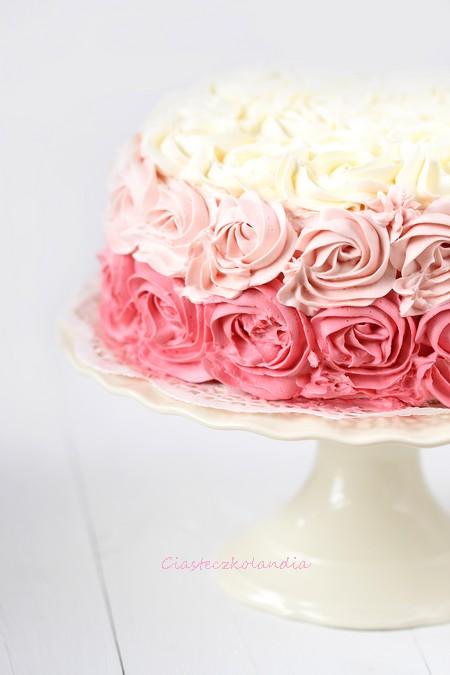 tort w róże, ombre cake. rose cake