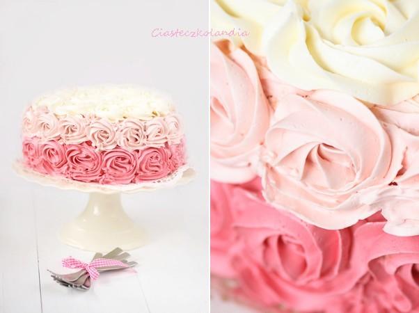 tort w róże, ombre cake, tort ombre