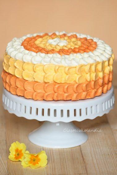 tort pina colada, tort ananasowy, ombre petal cake