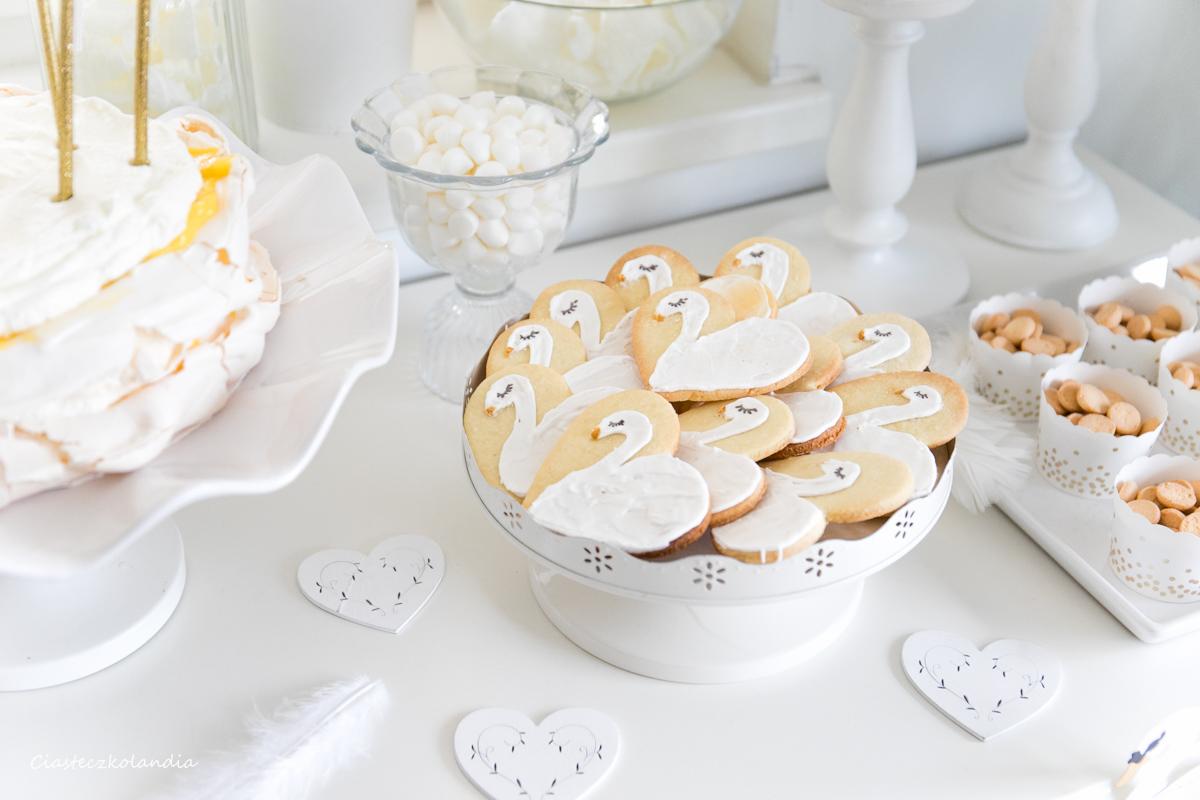 łabędziowe ciasteczka, ciasteczka łabędzie, swan cookies, łabędziowe przyjęcie, przyjęcie z łabędziami